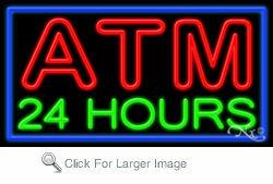 Atm 24 Hours Business Neon Sign