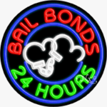 Bail Bonds 24 Hours Circle Shape Neon Sign