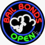 Bail Bonds Circle Shape Neon Sign