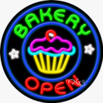 Bakery Open Circle Shape Neon Sign