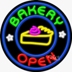 Bakery2 Open Circle Shape Neon Sign
