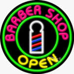 Barber Shop Open Circle Shape Neon Sign