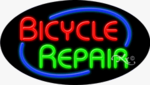 Bicycle Repair Oval Neon Sign