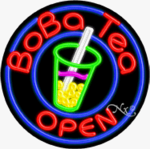 Boba Tea Circle Shape Neon Sign