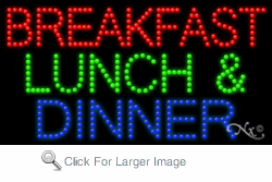 Breakfast Lunch & Dinner LED Sign