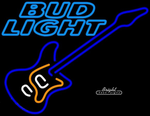 Bud Light Blue Electric Guitar Neon Sign