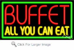 Buffet All You Can Eat Business Neon Sign