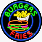 Burgers Fries Circle Shape Neon Sign