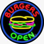 Burgers Open Circle Shape Neon Sign