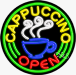 Cappuccino Circle Shape Neon Sign