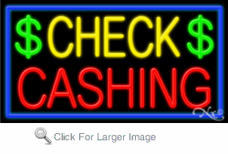 Check Cashing Business Neon Sign