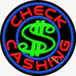 Check Cashing Circle Shape Neon Sign