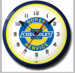 "Chevy Super Service 20"" Neon Clock"
