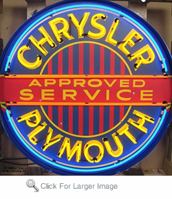 Chrysler Plymouth Neon Sign in Metal Can