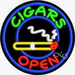 Cigars Circle Shape Neon Sign