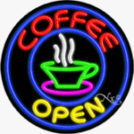 Coffee 2 Circle Shape Neon Sign