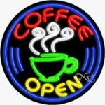 Coffee Circle Shape Neon Sign