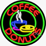 Coffee Donuts Circle Shape Neon Sign