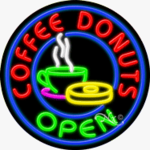 Coffee Donuts2 Circle Shape Neon Sign
