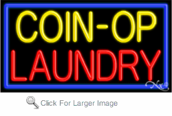 Coin Op Laundry Business Neon Sign