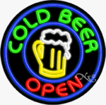 Cold Beer Circle Shape Neon Sign