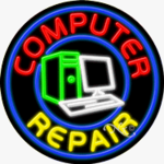 Computer Repair Circle Shape Neon Sign