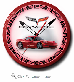 "Corvette C6 Red 20"" Neon Clock"