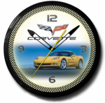 "Corvette C6 Yellow 20"" Neon Clock"
