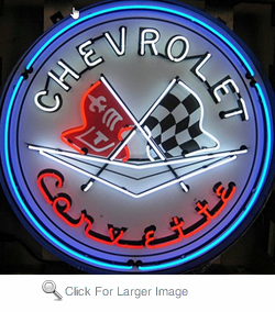Corvette Flags Neon Sign in Metal Can