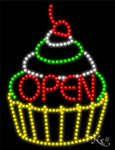Cupcake Open LED Sign