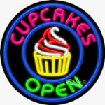 Cupcakes Circle Shape Neon Sign