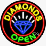 Diamonds Circle Shape Neon Sign