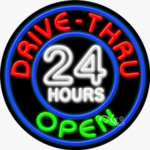 Drive Thru Open 24 Hours Circle Shape Neon Sign