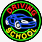 Driving School Circle Shape Neon Sign