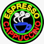 Espresso Cappuccino Circle Shape Neon Sign