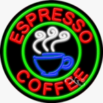 Espresso Coffee Circle Shape Neon Sign