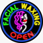 Facial Waxing Open Circle Shape Neon Sign