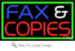Fax & Copies Business Neon Sign