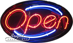 Oval Neon Open Sign
