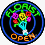 Florist2 Circle Shape Neon Sign