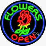 Flowers Circle Shape Neon Sign