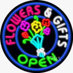 Flowers & Gifts Open Circle Shape Neon Sign