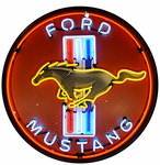 Ford Mustang Red Neon Sign in Metal Can