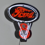 Ford V8 Neon Sign in Steel Can