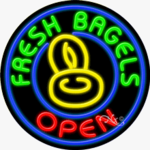Fresh Bagels Open Circle Shape Neon Sign