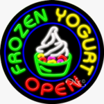 Frozen Yogurt Circle Shape Neon Sign