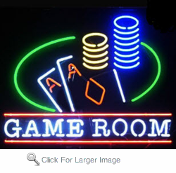 Game Room Cards Neon Sign