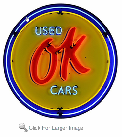 GM Ok Used Cars Neon Sign in Metal Can