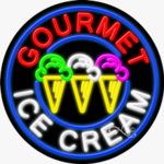 Gourmet Ice Cream Circle Shape Neon Sign