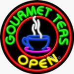 Gourmet Teas Circle Shape Neon Sign
